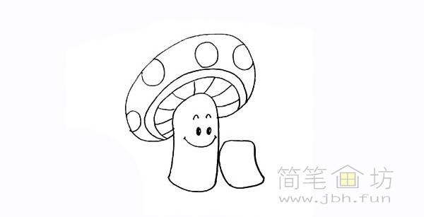 卡通蘑菇简笔画步骤图解教程【彩色】(9)