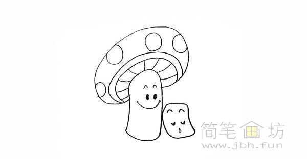 卡通蘑菇简笔画步骤图解教程【彩色】(12)