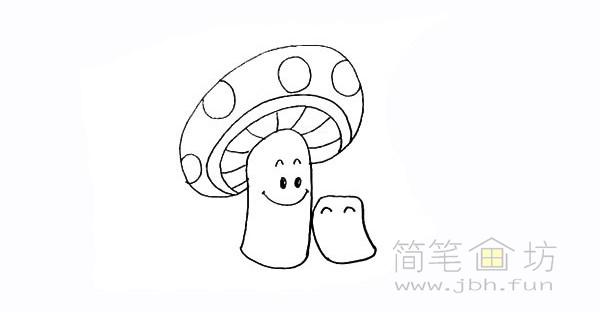 卡通蘑菇简笔画步骤图解教程【彩色】(10)