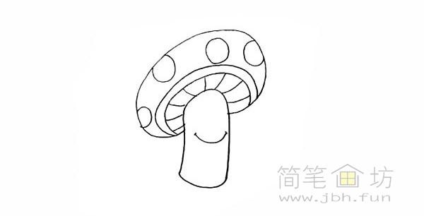 卡通蘑菇简笔画步骤图解教程【彩色】(6)