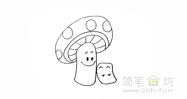 卡通蘑菇简笔画步骤图解教程【彩色】(11)