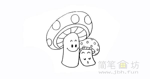 卡通蘑菇简笔画步骤图解教程【彩色】(14)