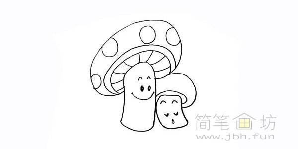 卡通蘑菇简笔画步骤图解教程【彩色】(13)