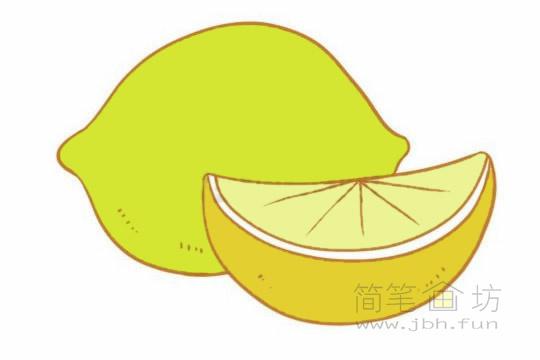 卡通柠檬简笔画的画法及图片大全【彩色】(2)