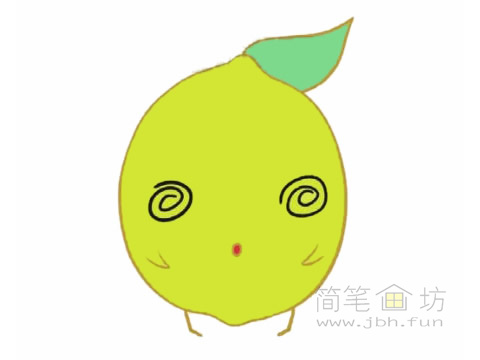 卡通柠檬简笔画的画法及图片大全【彩色】(3)