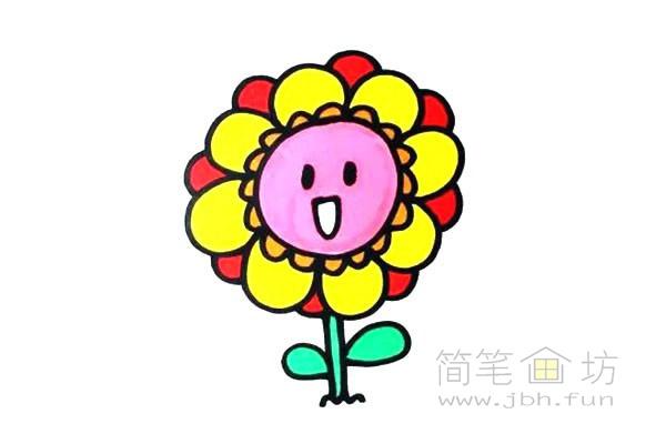 卡通向日葵简笔画彩色画法【彩色】(5)