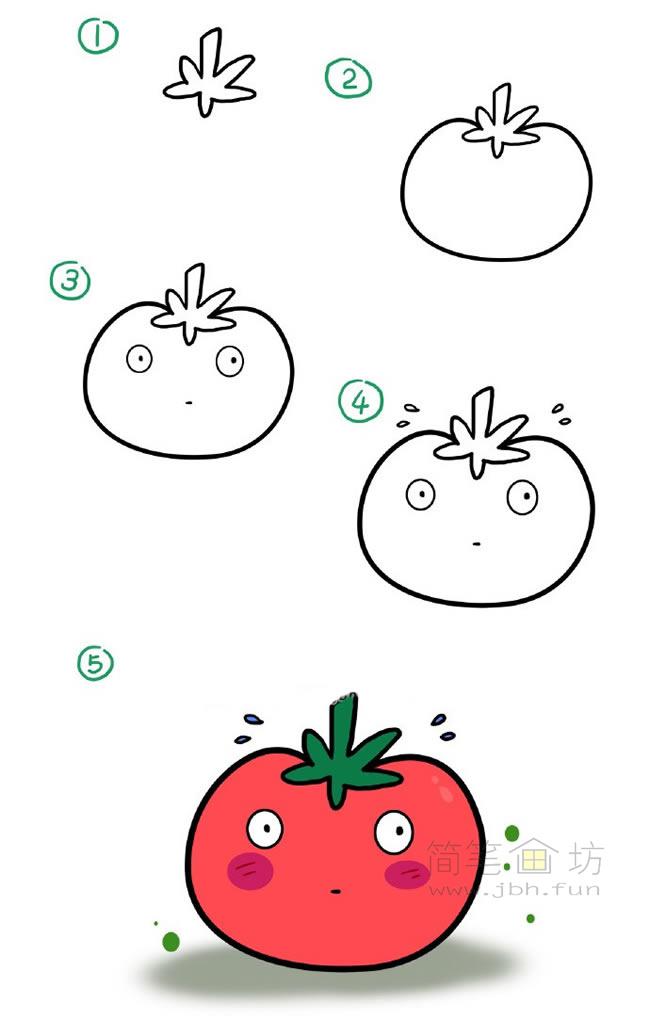 卡通西红柿简笔画教程(1)